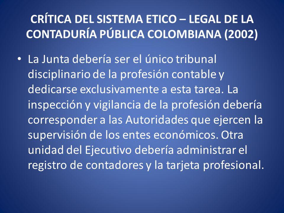CRÍTICA DEL SISTEMA ETICO – LEGAL DE LA CONTADURÍA PÚBLICA COLOMBIANA (2002)