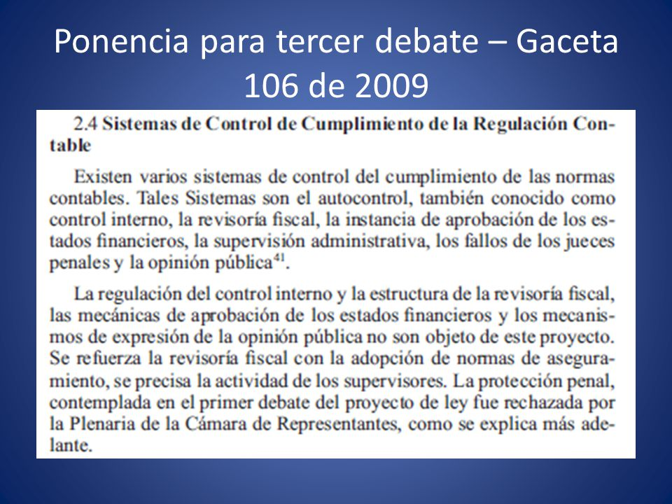 Ponencia para tercer debate – Gaceta 106 de 2009