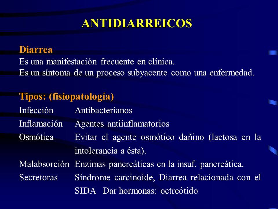 ANTIDIARREICOS Diarrea Tipos: (fisiopatología)