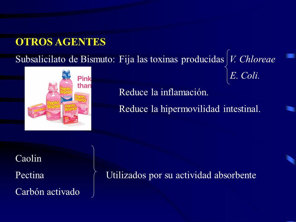 OTROS AGENTESSubsalicilato de Bismuto: Fija las toxinas producidas V. Chloreae E. Coli.
