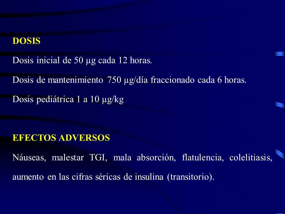 DOSISDosis inicial de 50 µg cada 12 horas. Dosis de mantenimiento 750 µg/día fraccionado cada 6 horas.