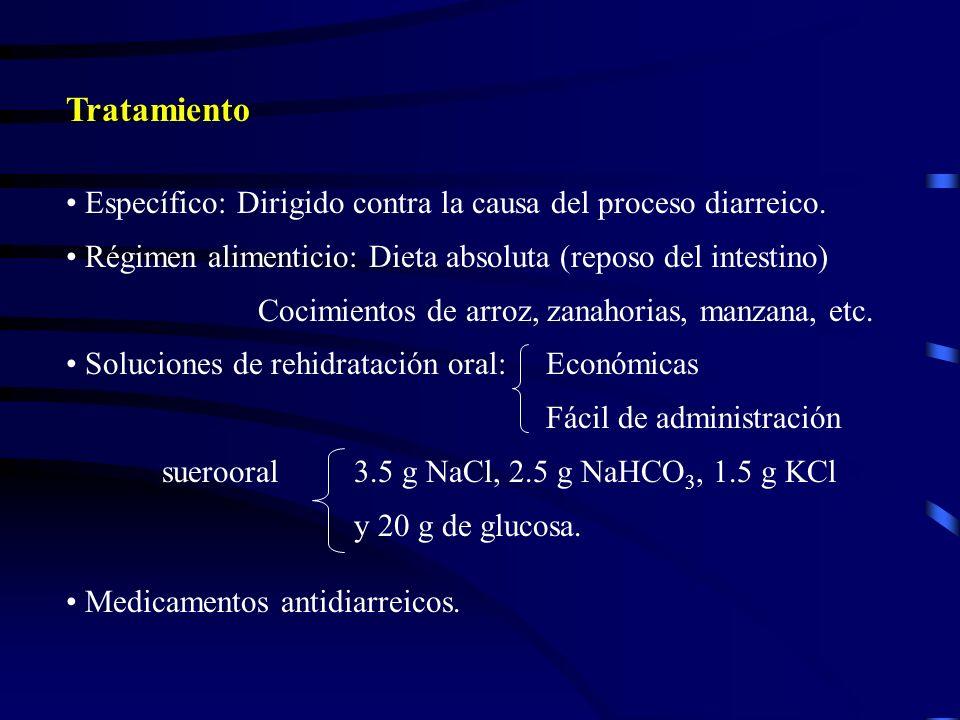 Tratamiento Específico: Dirigido contra la causa del proceso diarreico. Régimen alimenticio: Dieta absoluta (reposo del intestino)
