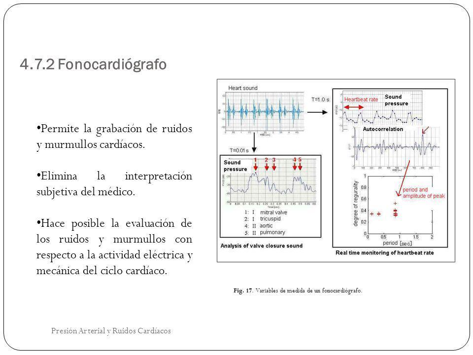 4.7.2 Fonocardiógrafo Permite la grabación de ruidos y murmullos cardíacos. Elimina la interpretación subjetiva del médico.
