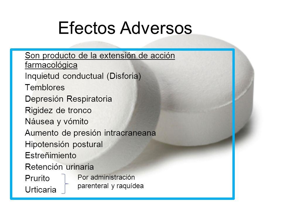 Efectos Adversos Son producto de la extensión de acción farmacológica