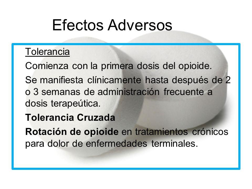 Efectos Adversos Tolerancia Comienza con la primera dosis del opioide.