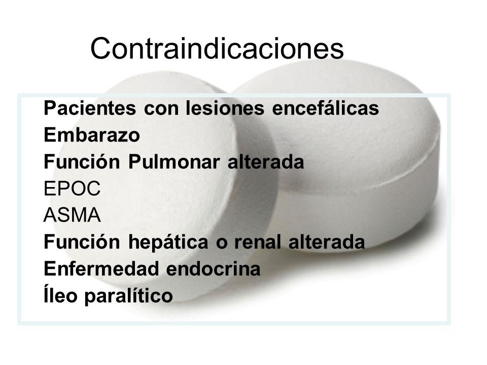 Contraindicaciones Pacientes con lesiones encefálicas Embarazo