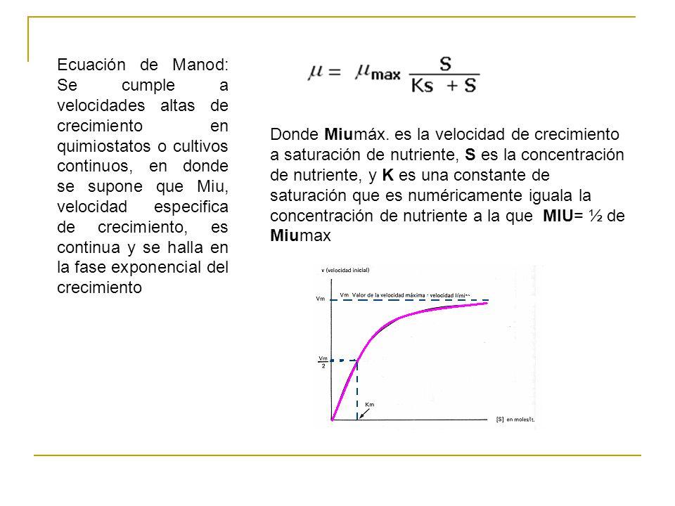 Ecuación de Manod: Se cumple a velocidades altas de crecimiento en quimiostatos o cultivos continuos, en donde se supone que Miu, velocidad especifica de crecimiento, es continua y se halla en la fase exponencial del crecimiento