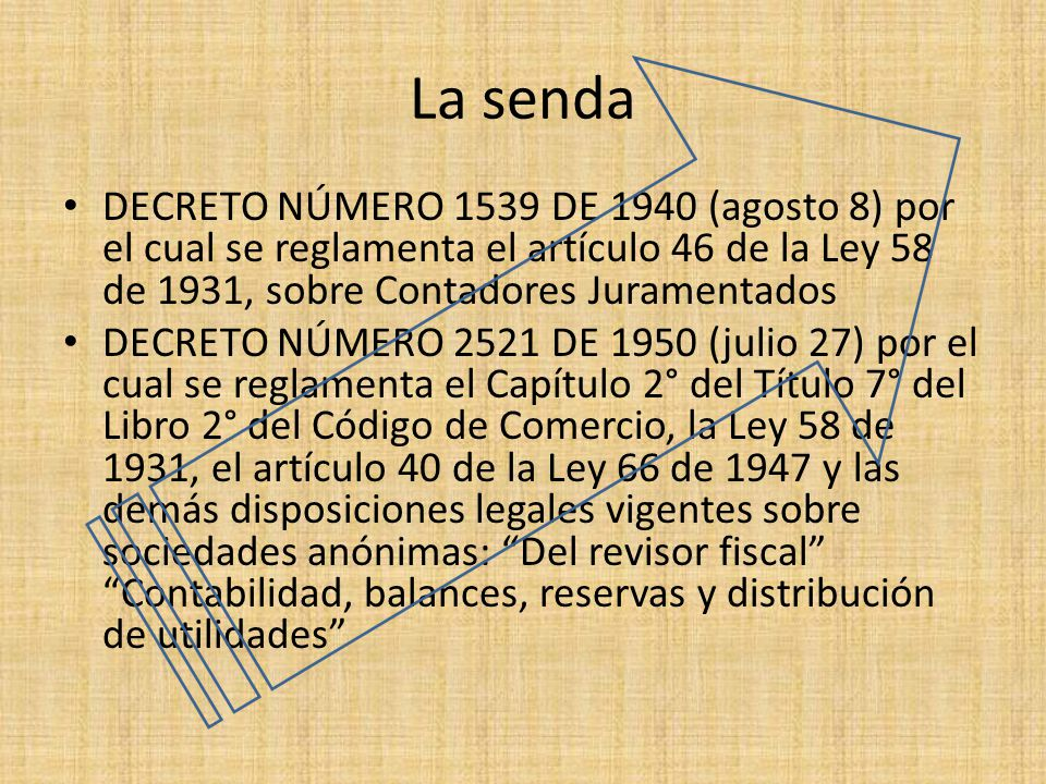 La senda DECRETO NÚMERO 1539 DE 1940 (agosto 8) por el cual se reglamenta el artículo 46 de la Ley 58 de 1931, sobre Contadores Juramentados.