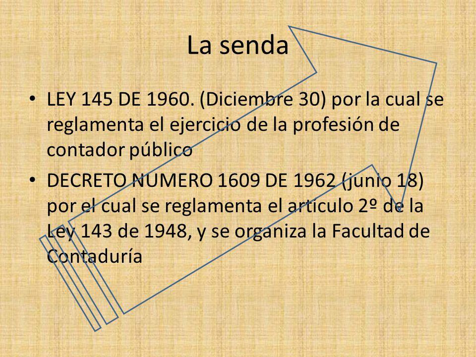 La senda LEY 145 DE 1960. (Diciembre 30) por la cual se reglamenta el ejercicio de la profesión de contador público.