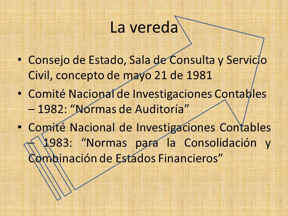 La vereda Consejo de Estado, Sala de Consulta y Servicio Civil, concepto de mayo 21 de 1981.