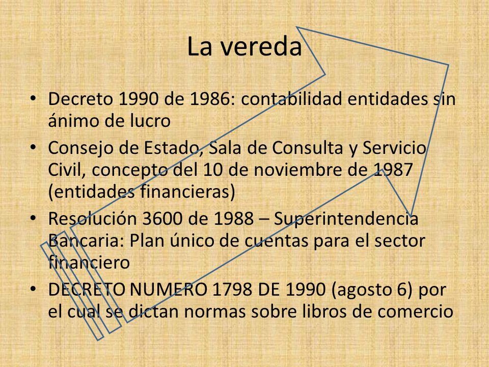 La vereda Decreto 1990 de 1986: contabilidad entidades sin ánimo de lucro.
