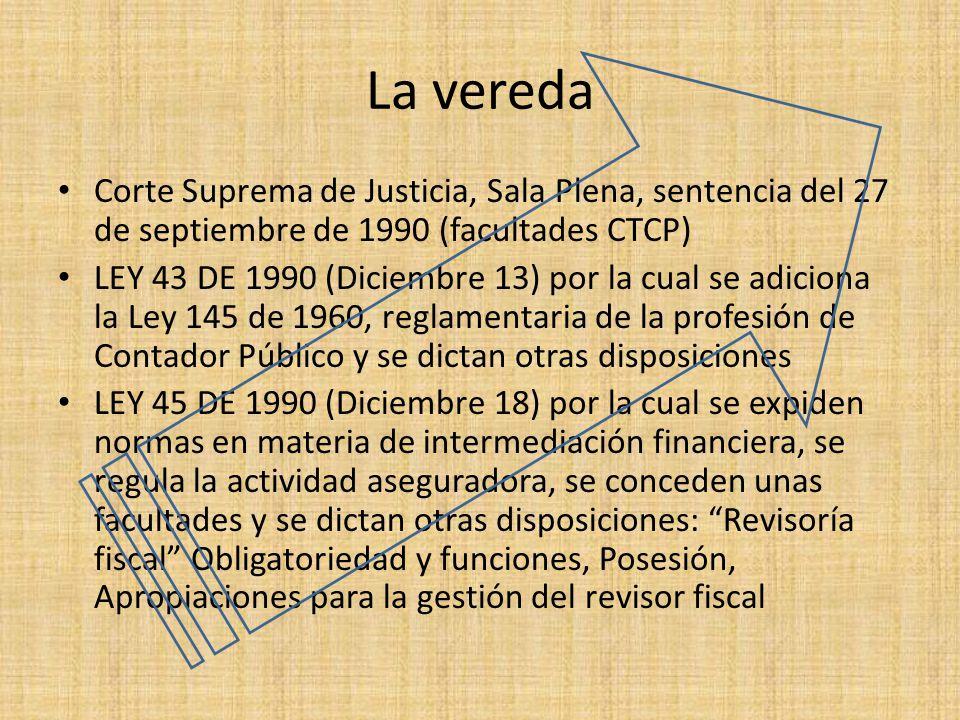 La vereda Corte Suprema de Justicia, Sala Plena, sentencia del 27 de septiembre de 1990 (facultades CTCP)