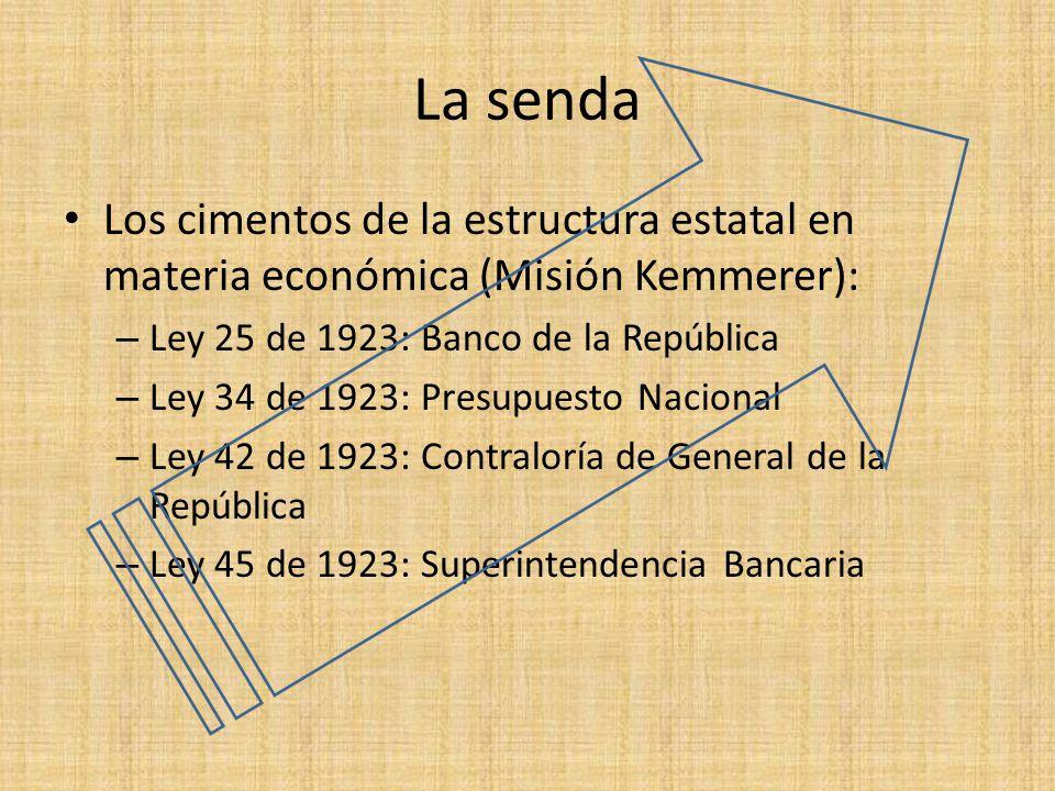 La senda Los cimentos de la estructura estatal en materia económica (Misión Kemmerer): Ley 25 de 1923: Banco de la República.