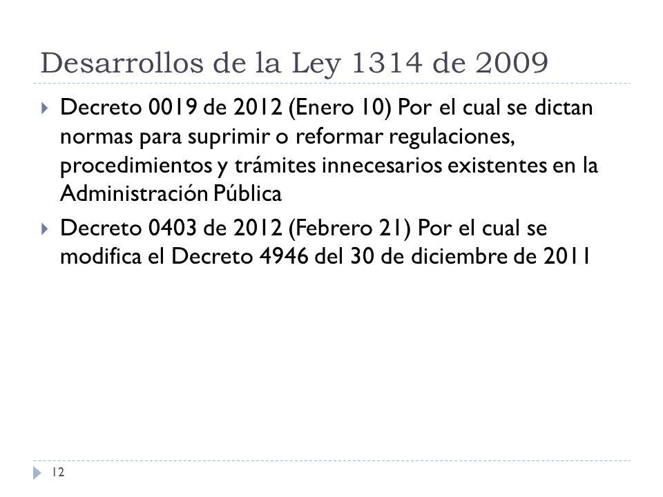 Desarrollos de la Ley 1314 de 2009