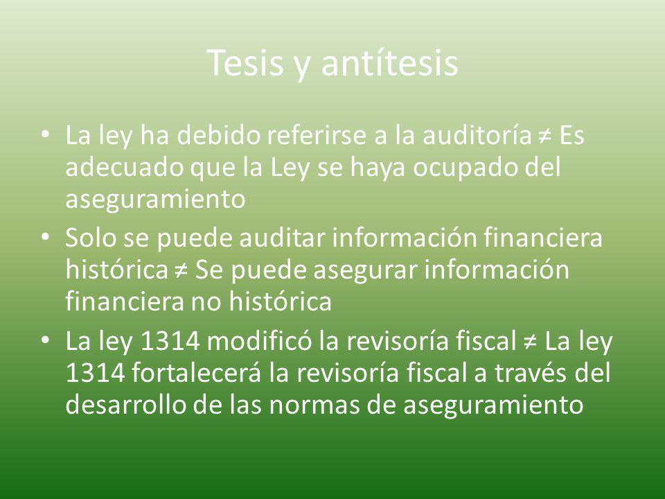 Tesis y antítesis La ley ha debido referirse a la auditoría ≠ Es adecuado que la Ley se haya ocupado del aseguramiento.