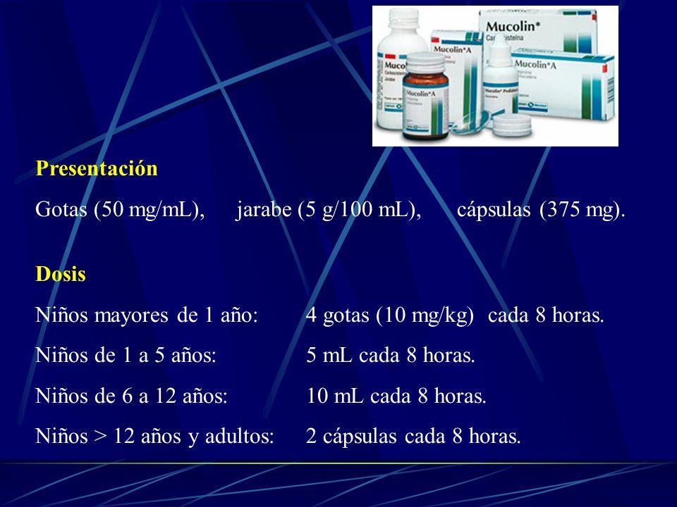 PresentaciónGotas (50 mg/mL), jarabe (5 g/100 mL), cápsulas (375 mg). Dosis. Niños mayores de 1 año: 4 gotas (10 mg/kg) cada 8 horas.