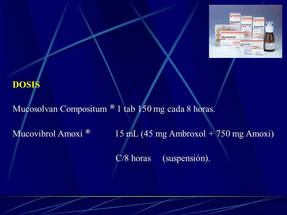 DOSIS Mucosolvan Compositum ® 1 tab 150 mg cada 8 horas. Mucovibrol Amoxi ® 15 mL (45 mg Ambroxol + 750 mg Amoxi)