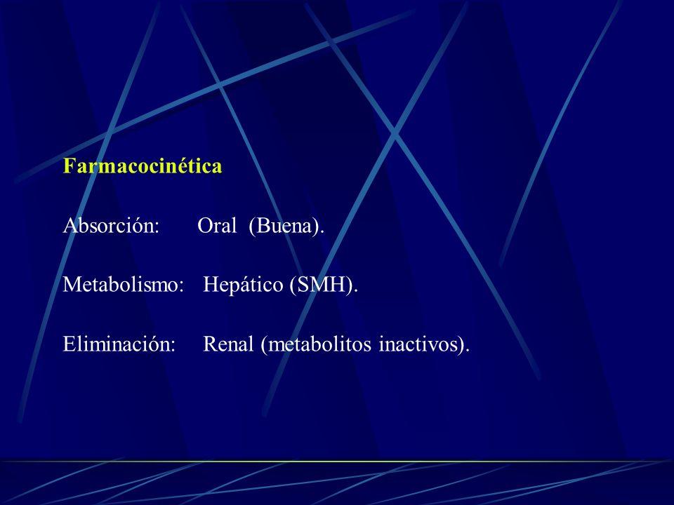 Farmacocinética Absorción: Oral (Buena). Metabolismo: Hepático (SMH).
