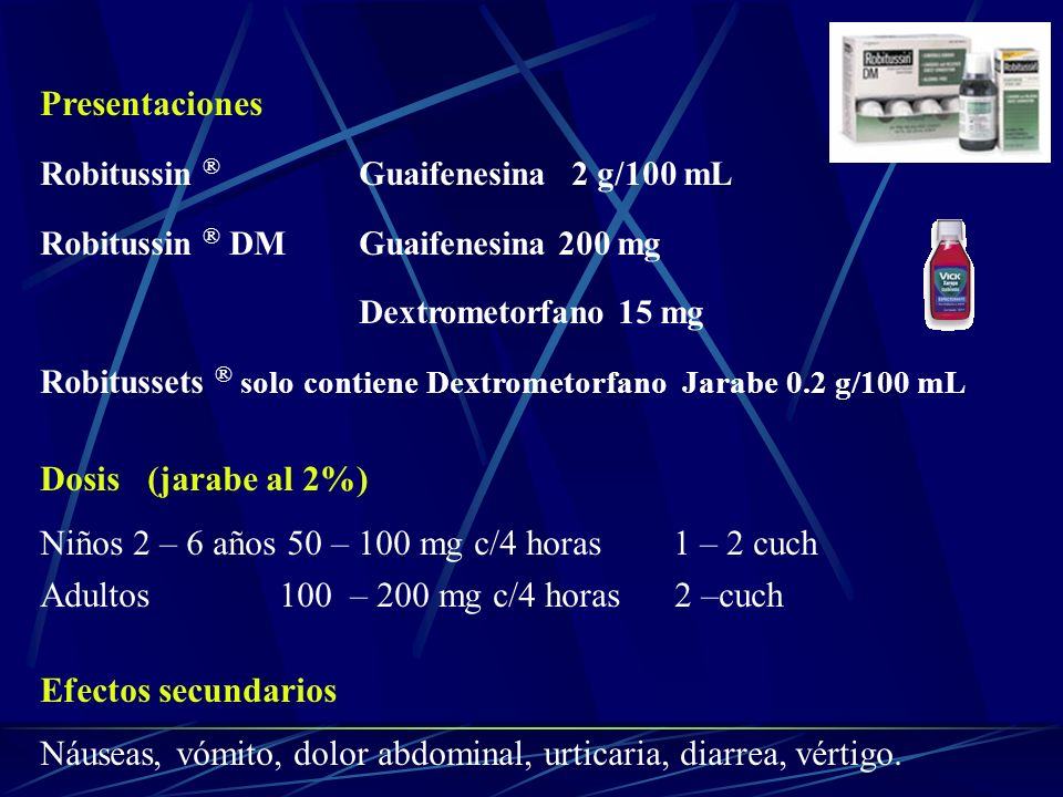 Niños 2 – 6 años 50 – 100 mg c/4 horas 1 – 2 cuch