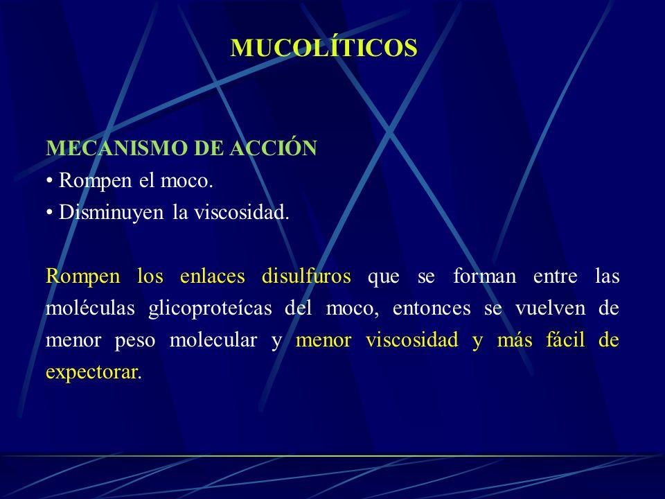 MUCOLÍTICOS MECANISMO DE ACCIÓN Rompen el moco.