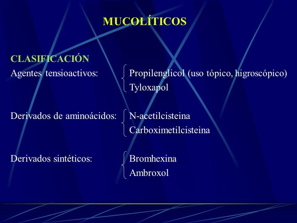 MUCOLÍTICOS CLASIFICACIÓN