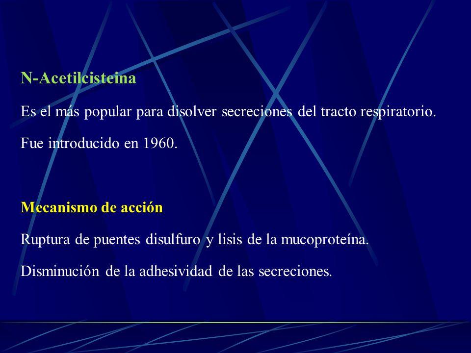 N-Acetilcisteina Es el más popular para disolver secreciones del tracto respiratorio. Fue introducido en 1960.