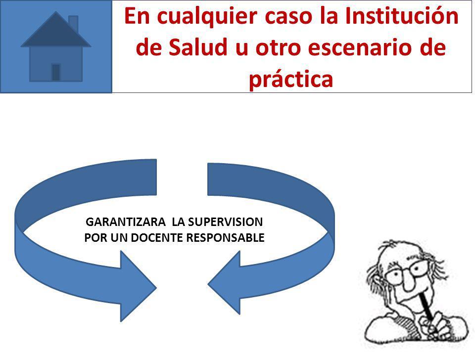 En cualquier caso la Institución de Salud u otro escenario de práctica