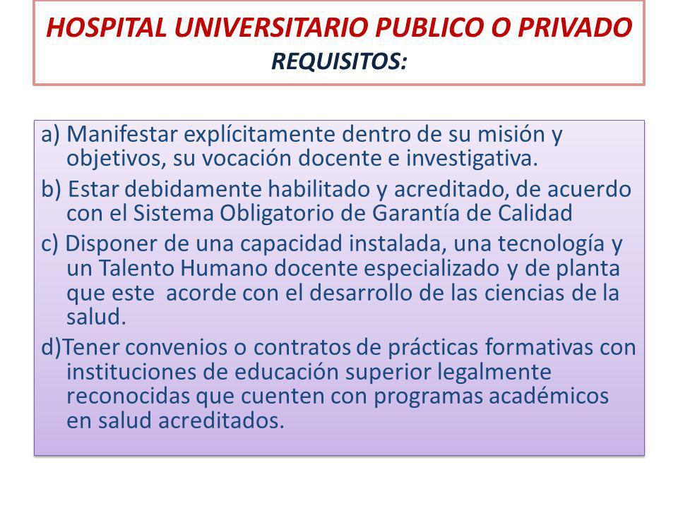 HOSPITAL UNIVERSITARIO PUBLICO O PRIVADO REQUISITOS: