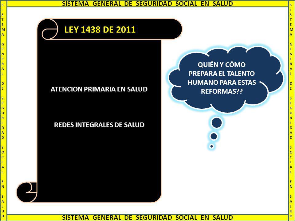 LEY 1438 DE 2011 SISTEMA GENERAL DE SEGURIDAD SOCIAL EN SALUD