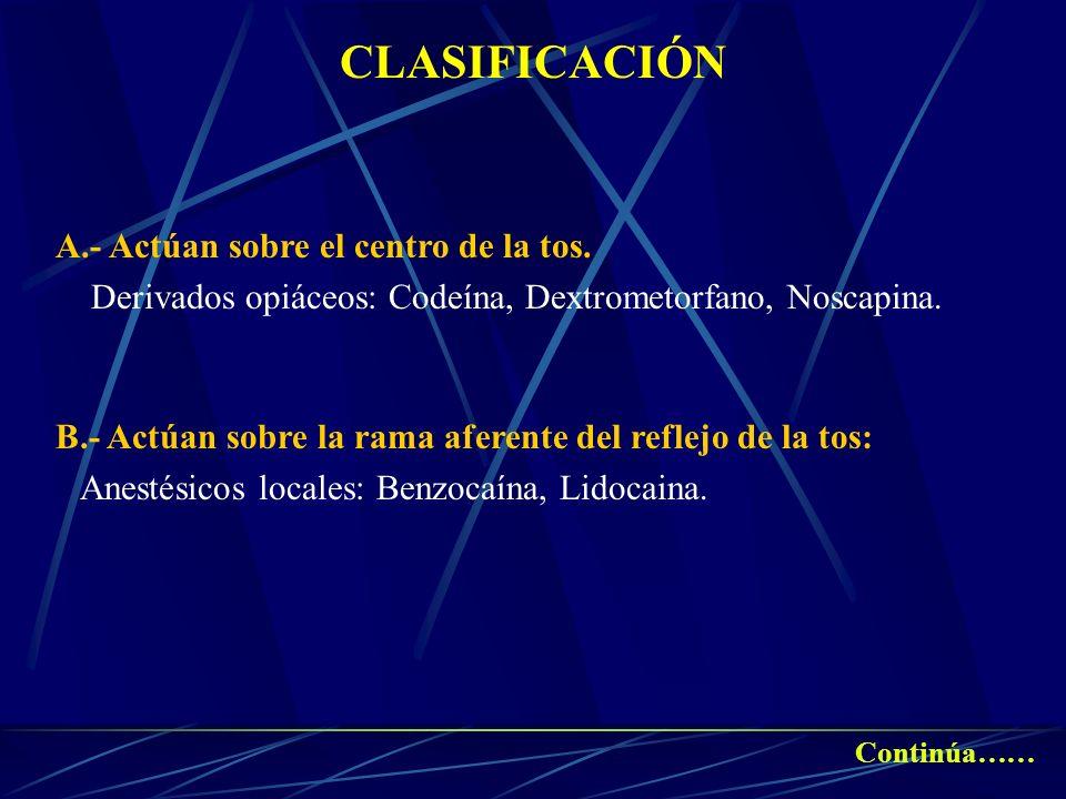 CLASIFICACIÓN A.- Actúan sobre el centro de la tos.