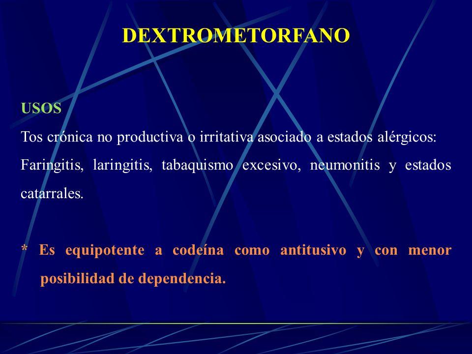DEXTROMETORFANO USOS. Tos crónica no productiva o irritativa asociado a estados alérgicos: