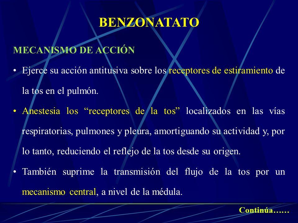 BENZONATATO MECANISMO DE ACCIÓN