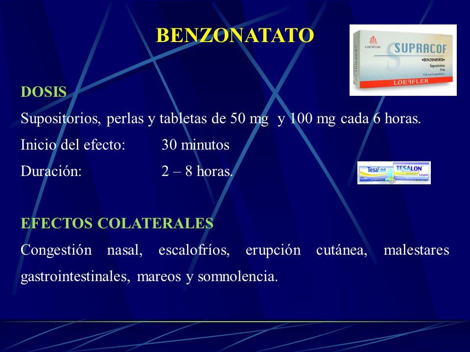 BENZONATATO DOSIS. Supositorios, perlas y tabletas de 50 mg y 100 mg cada 6 horas. Inicio del efecto: 30 minutos.