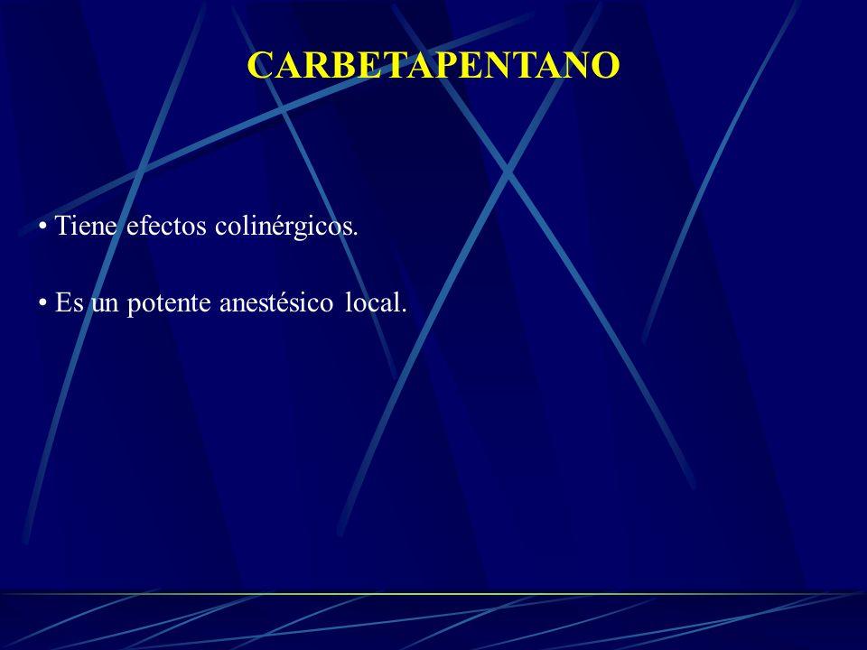 CARBETAPENTANO Tiene efectos colinérgicos.
