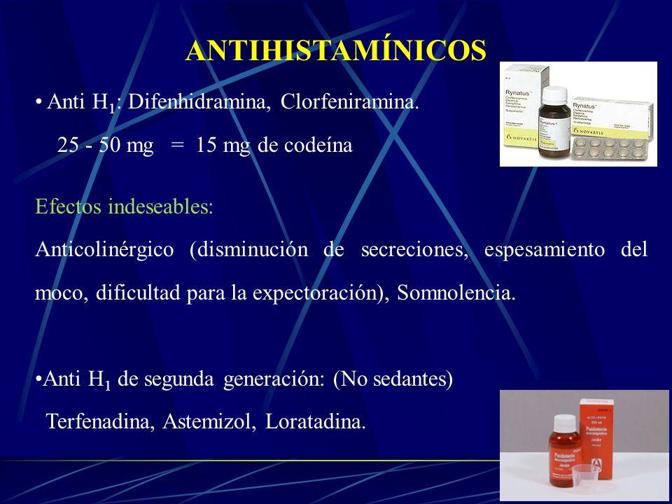 ANTIHISTAMÍNICOS Anti H1: Difenhidramina, Clorfeniramina.