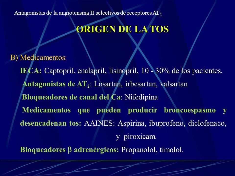 ORIGEN DE LA TOS B) Medicamentos: