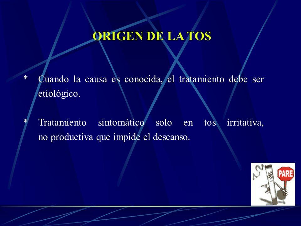 ORIGEN DE LA TOS * Cuando la causa es conocida, el tratamiento debe ser etiológico.