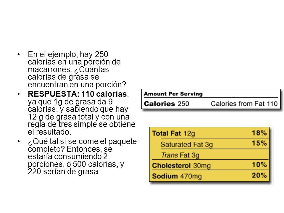 En el ejemplo, hay 250 calorías en una porción de macarrones