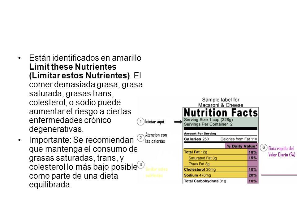 Están identificados en amarillo Limit these Nutrientes (Limitar estos Nutrientes). El comer demasiada grasa, grasa saturada, grasas trans, colesterol, o sodio puede aumentar el riesgo a ciertas enfermedades crónico degenerativas.