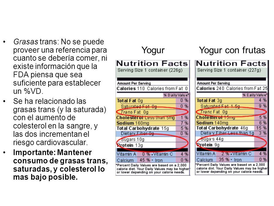 Grasas trans: No se puede proveer una referencia para cuanto se debería comer, ni existe información que la FDA piensa que sea suficiente para establecer un %VD.