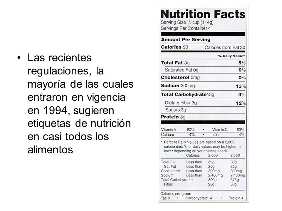 Las recientes regulaciones, la mayoría de las cuales entraron en vigencia en 1994, sugieren etiquetas de nutrición en casi todos los alimentos