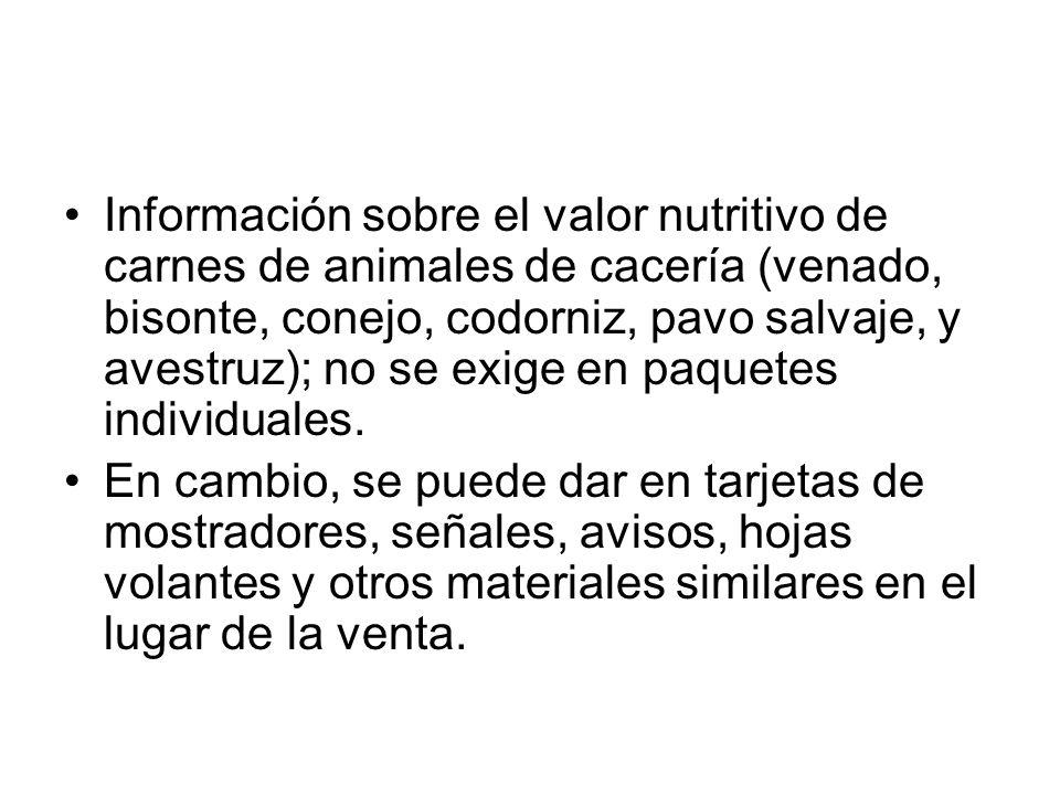 Información sobre el valor nutritivo de carnes de animales de cacería (venado, bisonte, conejo, codorniz, pavo salvaje, y avestruz); no se exige en paquetes individuales.