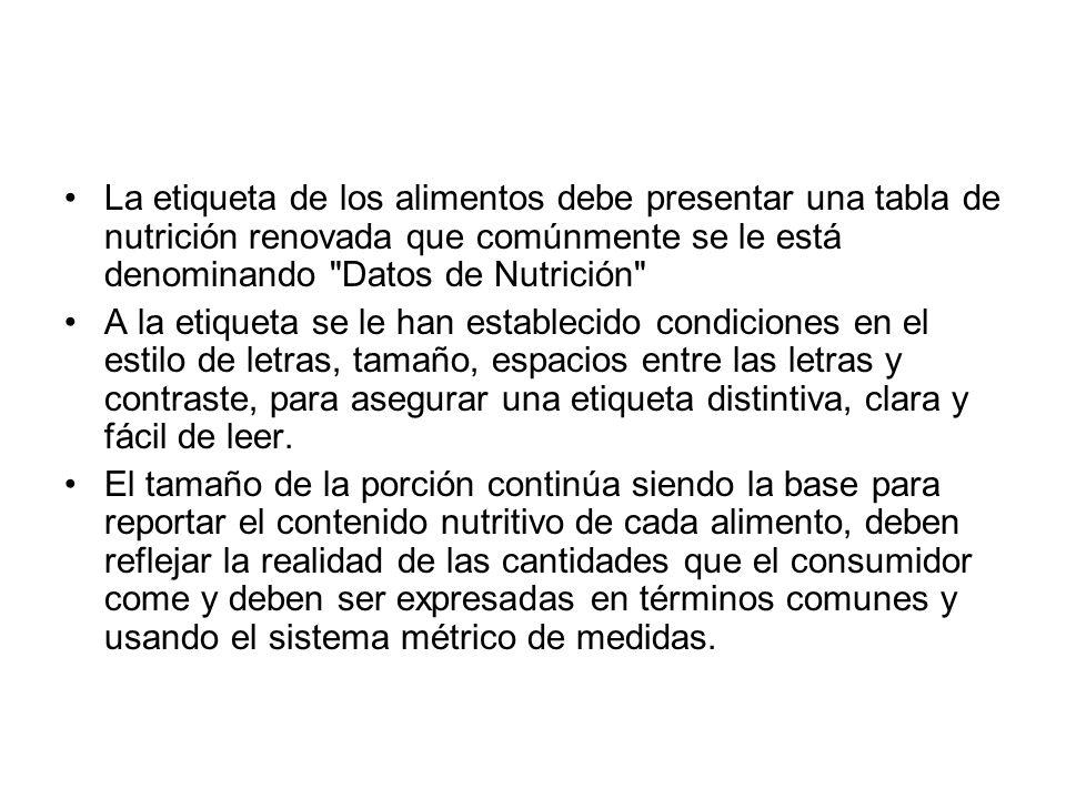 La etiqueta de los alimentos debe presentar una tabla de nutrición renovada que comúnmente se le está denominando Datos de Nutrición