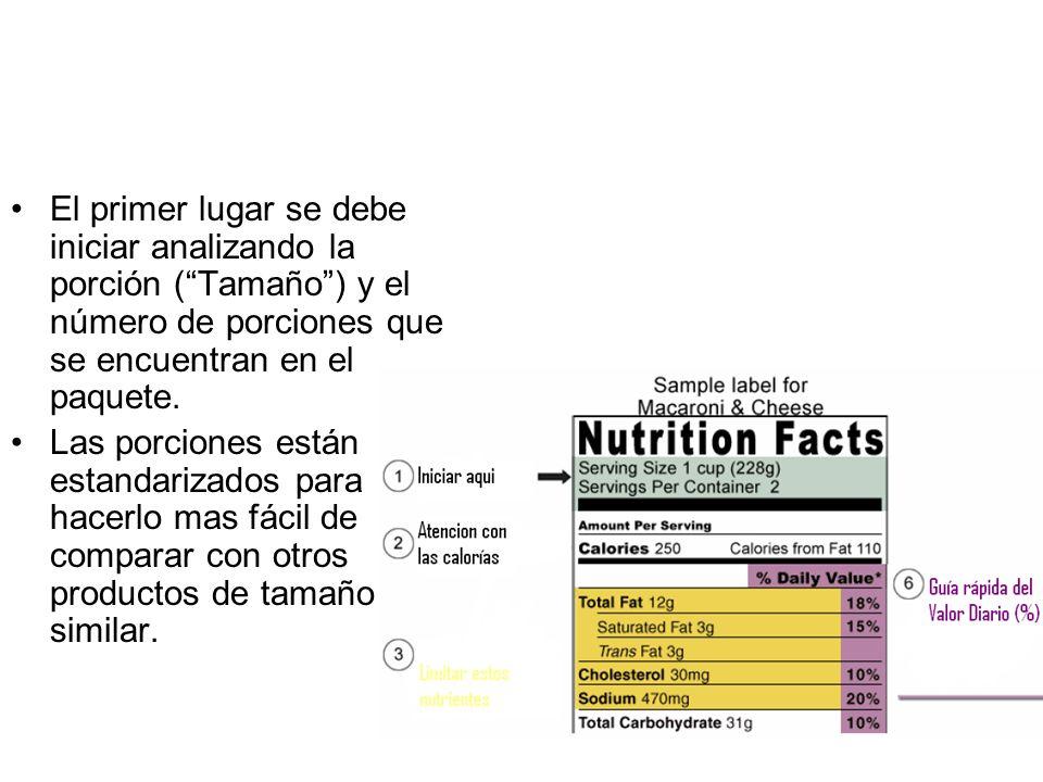 El primer lugar se debe iniciar analizando la porción ( Tamaño ) y el número de porciones que se encuentran en el paquete.