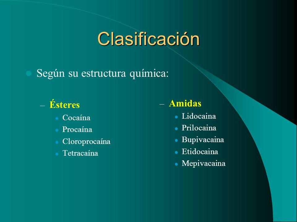 Clasificación Según su estructura química: Ésteres Amidas Cocaína