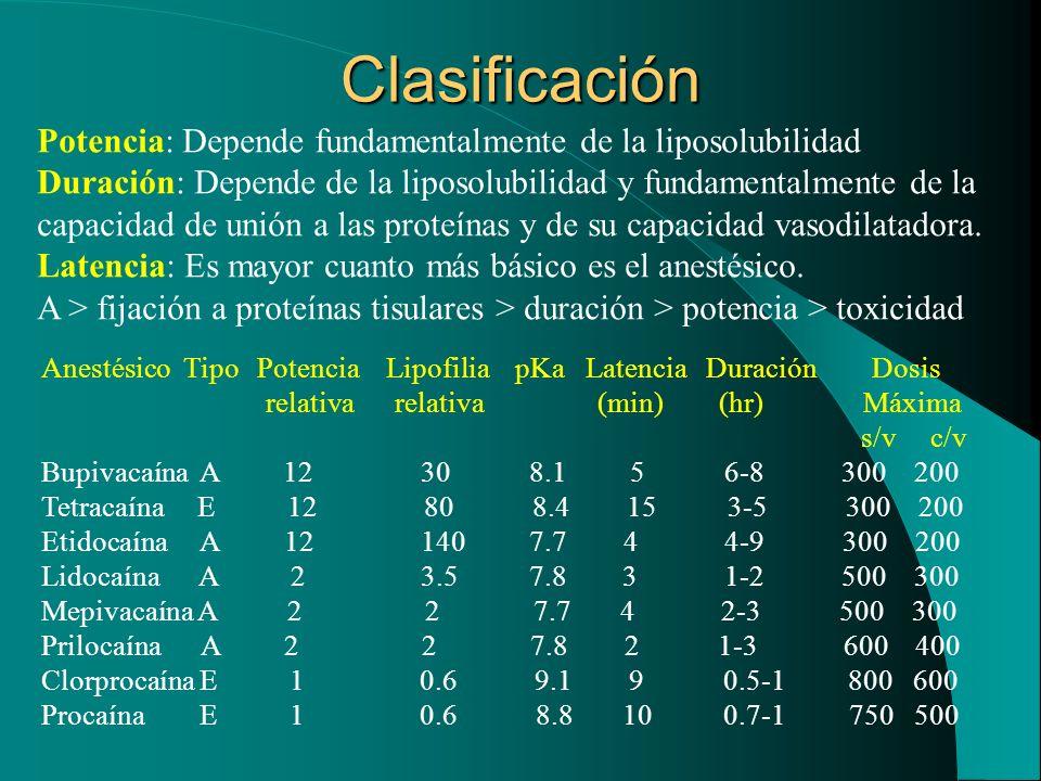 Clasificación Potencia: Depende fundamentalmente de la liposolubilidad