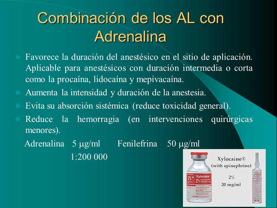 Combinación de los AL con Adrenalina