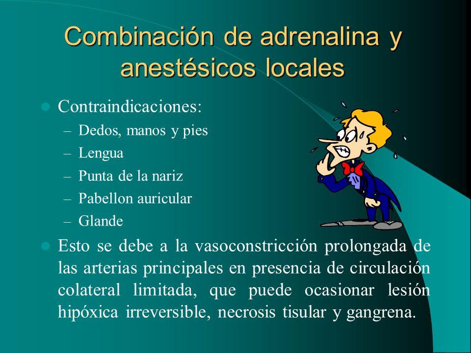 Combinación de adrenalina y anestésicos locales