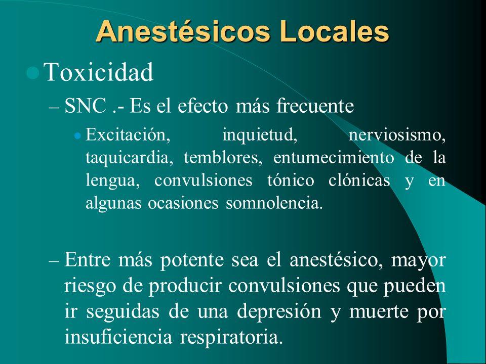 Anestésicos Locales Toxicidad SNC .- Es el efecto más frecuente