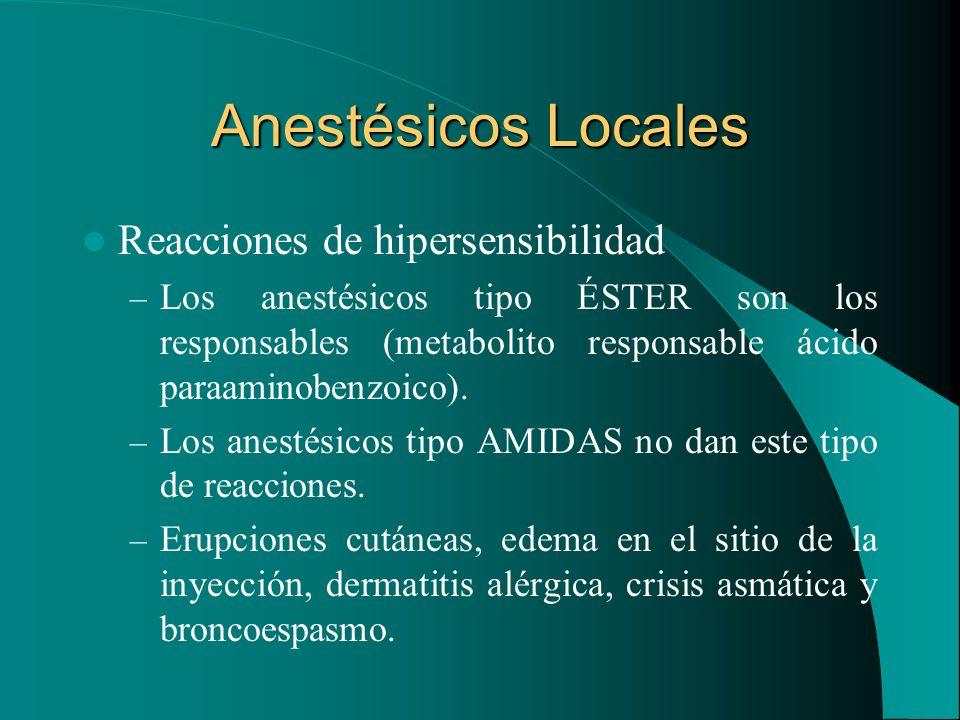 Anestésicos Locales Reacciones de hipersensibilidad
